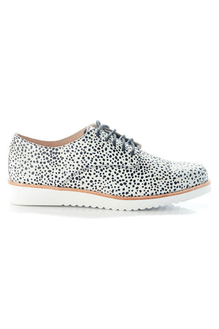 Mila Leather Lace Up White Navy Spot Sneaker