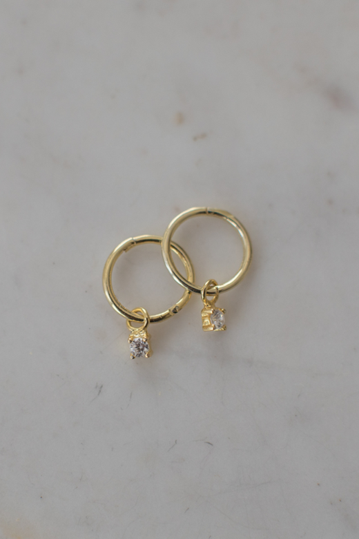 Mini Rock Sleeper Earrings Clear Gold