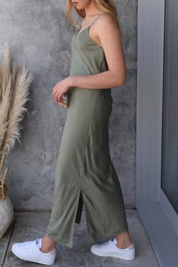 Moonlight Soft Olive V Neck Bias Slip Midi Dress