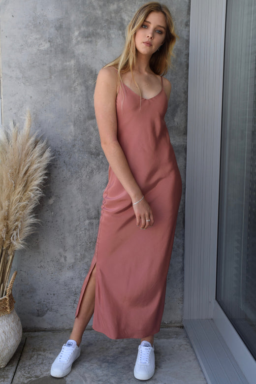 Moonlight Terracotta Satin Bias Slip Midi Dress