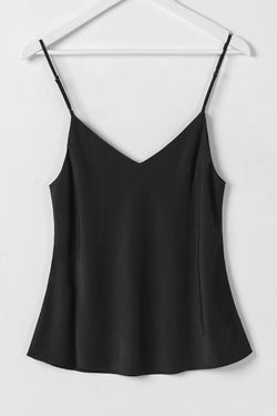 Moonlight Black Viscose Bias V Neck Cami