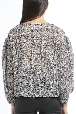 Muse LS Front Tie Ivory with Black Ditsy Print Top