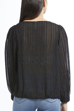 Muse LS Front Tie Black Stripe Sheer Top