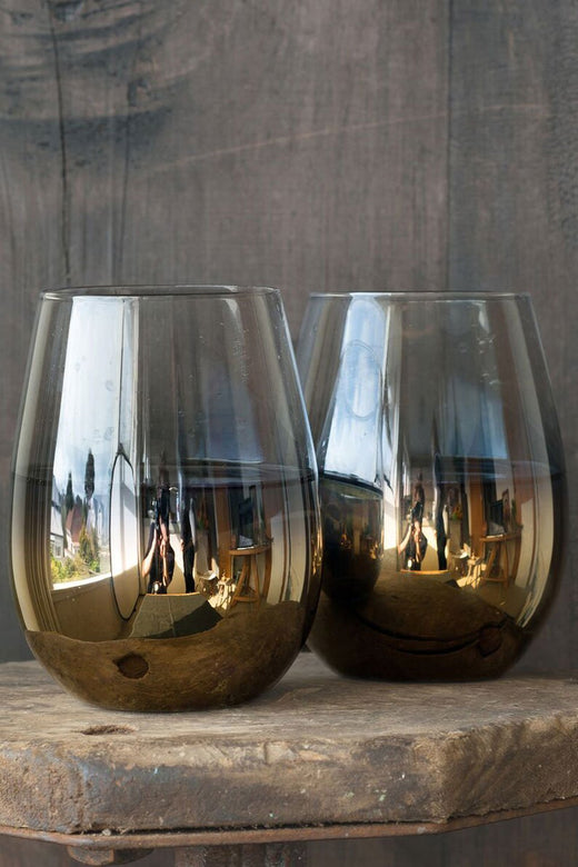 NelLusso Metallic Gold Stemless Wine Glass