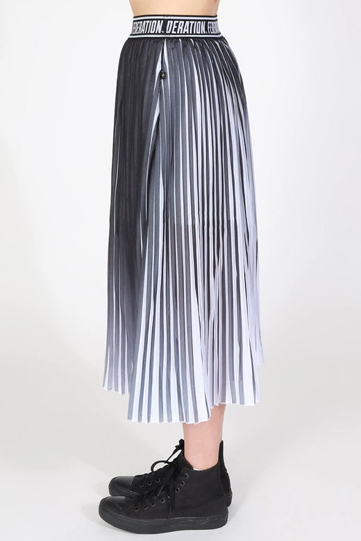 Ninja Black Contrast Pleated Midi Skirt