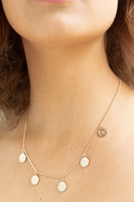 5 Coin Pendant Gold Necklace