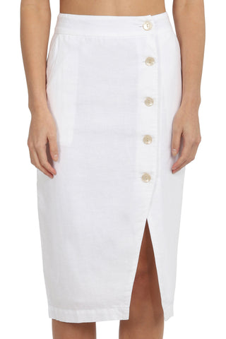 Neve White Linen Button Front Midi Skirt