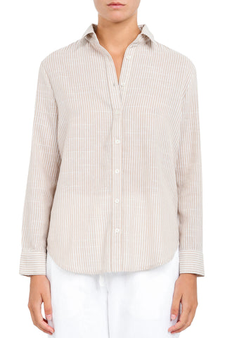Nude Classic Button Up Sand Stripe Shirt