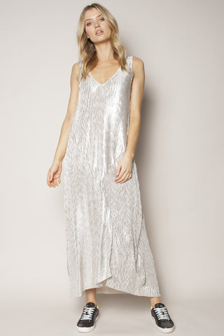 Shadow Metallic Strappy Pleated Silver Maxi Dress