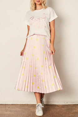The Sunray Pleated Pink With Yellow Spot Midi Skirt