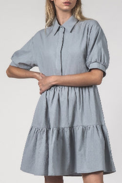 Nova SS Blue Crinkle Shirt Dress