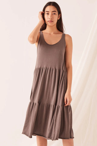 Odessa Sable Charcoal Midi Cotton Knit Dress