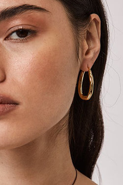 Organica Gold Bent Hoop Earrings
