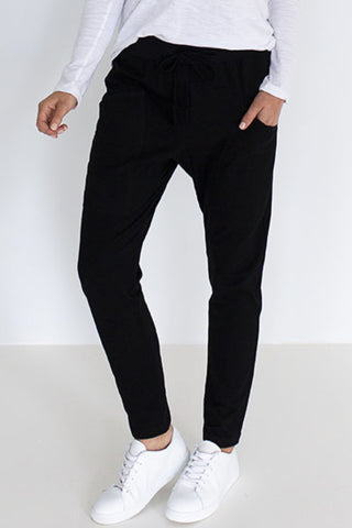 Slouch Black Stretchy Cotton Jersey Pant