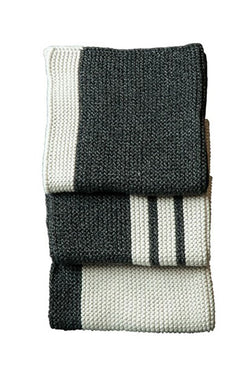 Textured Pannello Graphite Stripe Wash Cloths Set of 3
