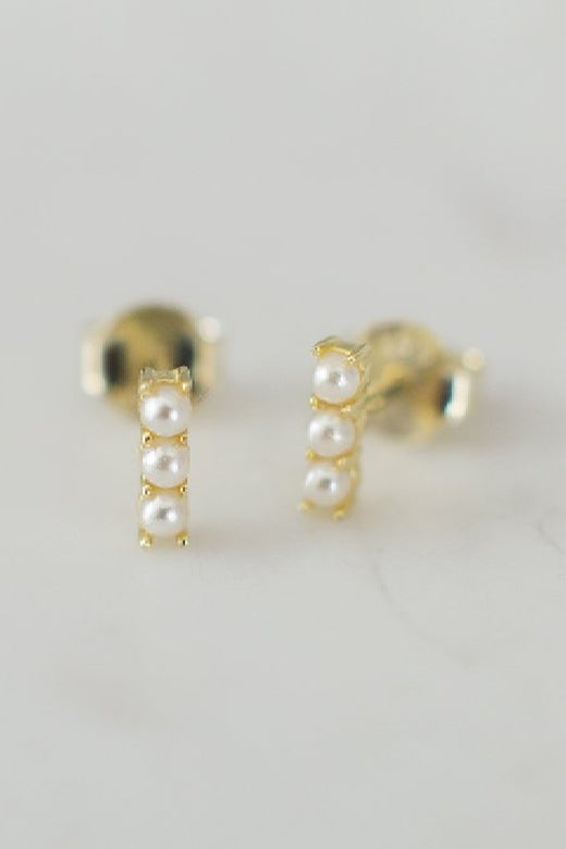 Pearl Bar Stud Earrings Gold