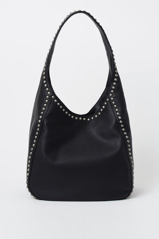 Pippa Silver Studded Black Shoulder Bag