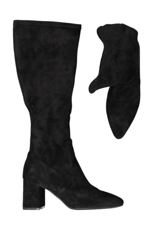 Point Pop Knee High Black Suede Heeled Boot