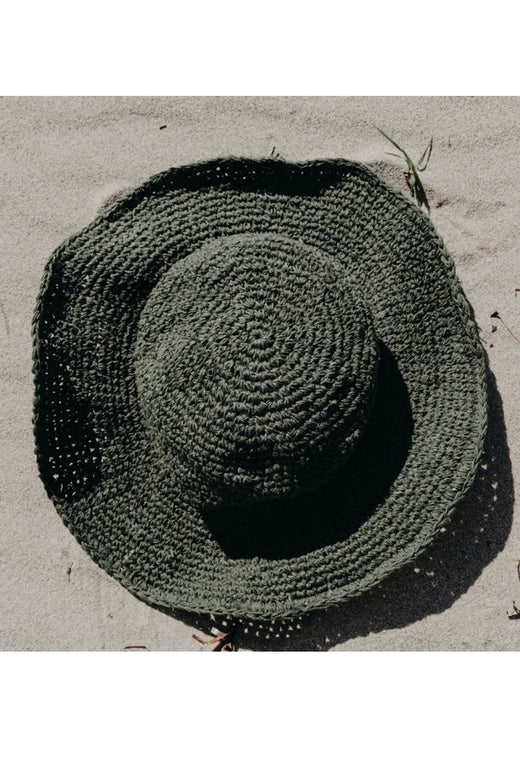 Hand Woven in Nepal Olive Polly Sun hat