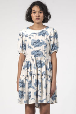 Poppy Ivory Blue Floral Tiered Dress