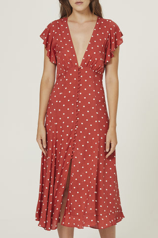 Polly Sunday SS Red Spot Midi Dress