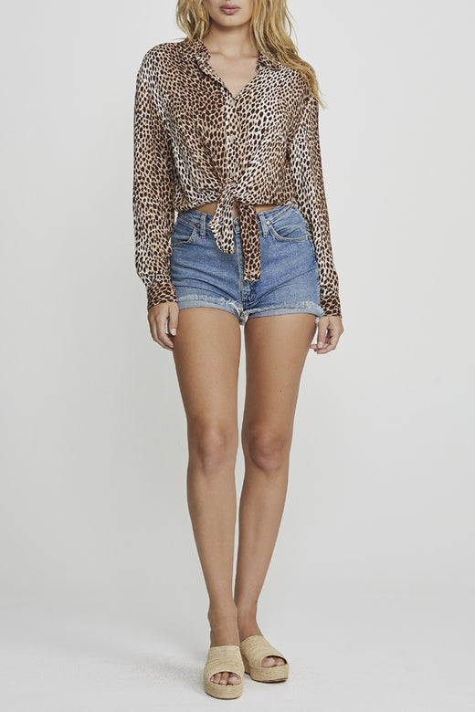 Nico Tie Front Natural Leopard Shirt
