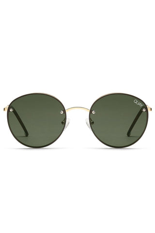 Farrah Sunglasses Gold Metal Frame Green lens
