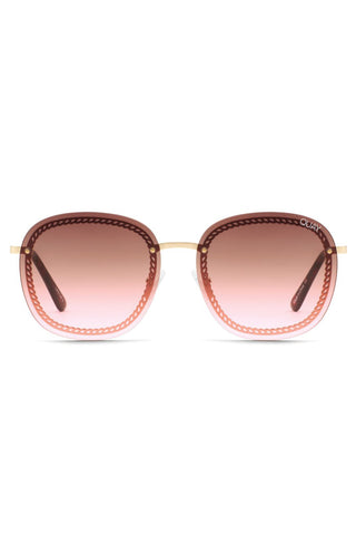 Jezabell Chain Gold Frame with Brown Pink Lens Sunglasses