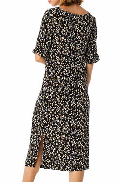 Roar Black Animal Print Frill Sleeve Dress
