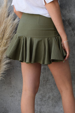 Radical Khaki Ruffle Hem Linen Blend Mini Skirt