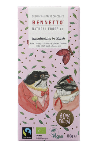 Fairtrade Raspberries in Dark Chocolate 100gm