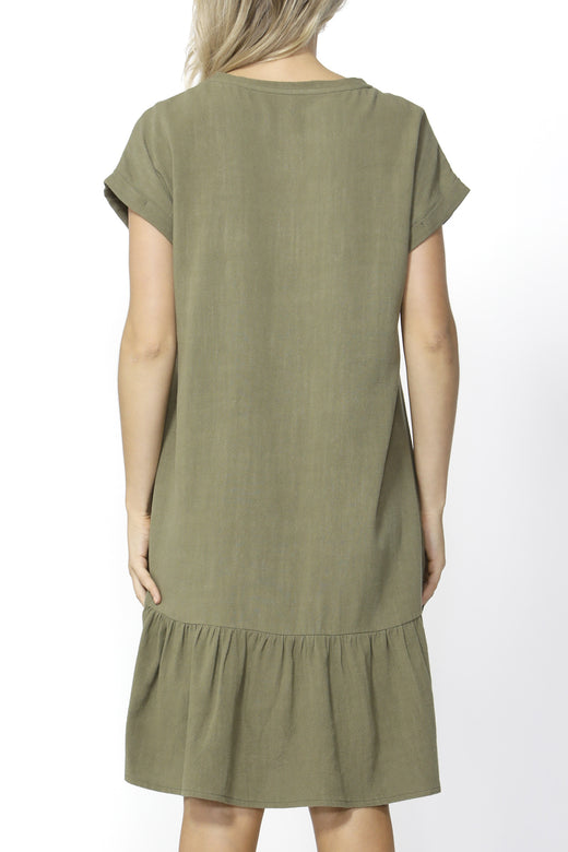 Ryland Khaki Shift Ruffle Dress