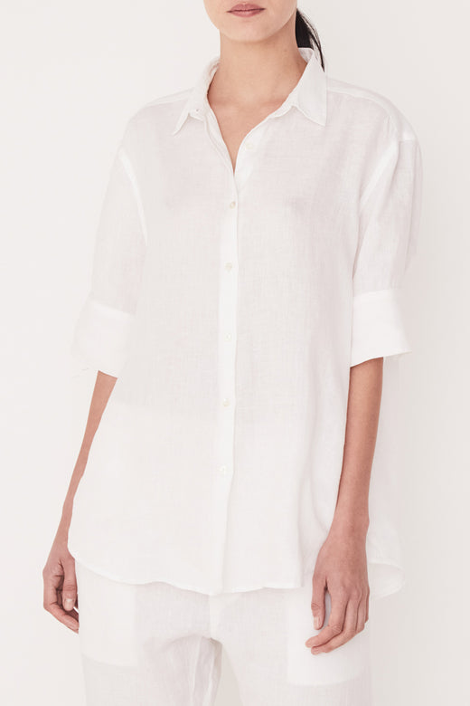 SS White Relaxed Linen Shirt