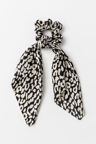 Leopard Black White Scarf Scrunchie