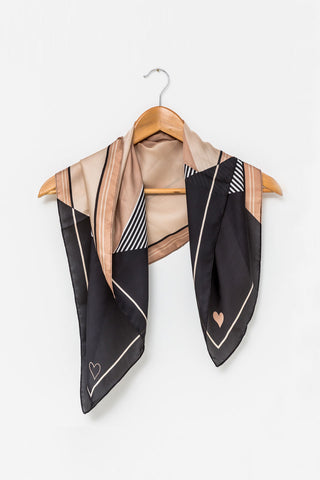 Square Tan Black with Heart Scarf