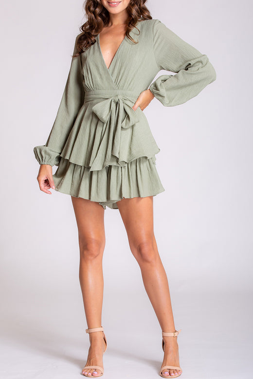 Textured Soft Green LS Ruffle and Bow Playsuit