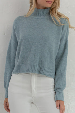 High Crew Cropped Blue Knit Jumper