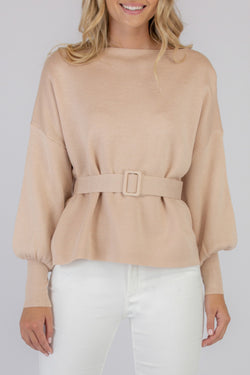 Bubble Sleeve Beige Knit Jumper with Belt