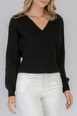 Textured Cross Knit Black Jumper with Tie