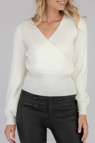Textured Cross Knit White Jumper with Tie
