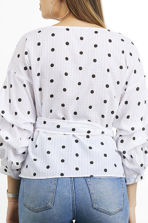 Ruby White Spaced Spot Wrap Top