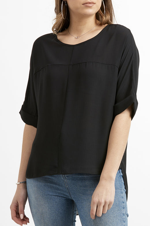 Truthful SS Black Textured Top