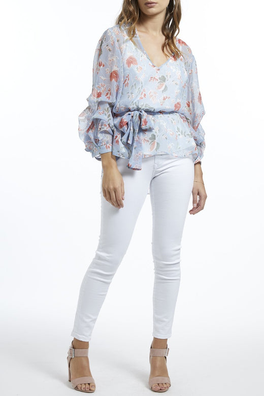 Ready or Not Blue Scattered Leaves Georgette Top