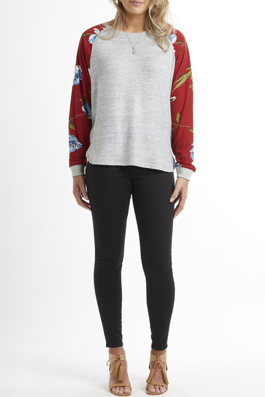 Respect Grey Marle with Red Giant Magnolia Raglan Crew