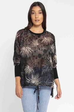 All You Need LS Black Champagne Floral Knit Cuff Top