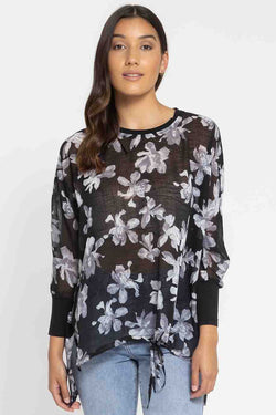 All You Need LS Grey Bloom Knit Cuff Top