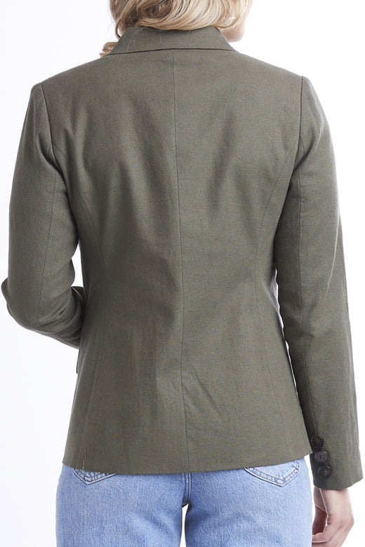 Georgie Double Breasted Khaki Classic Blazer