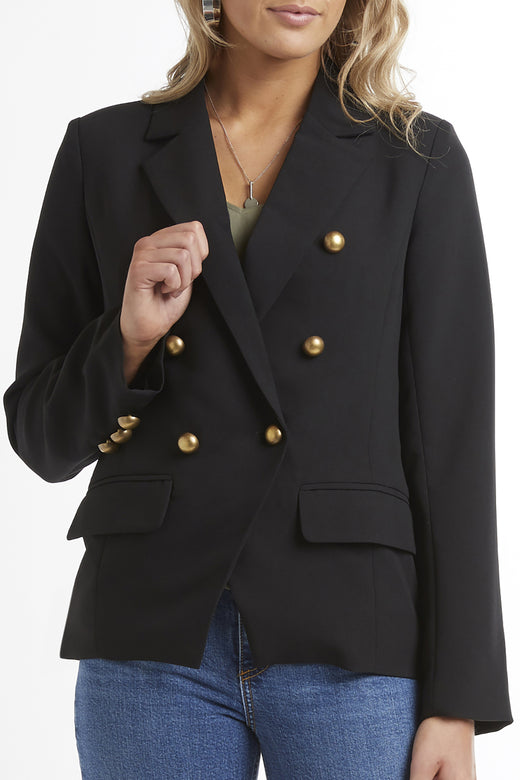 Georgie Double Breasted Black Classic Blazer