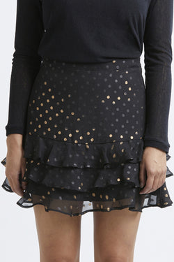 Triple Frill Black with Metallic Spot Mini Skirt