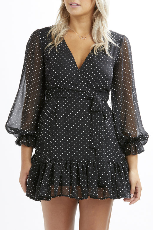 Cleo Black Spot Georgette LS Dress